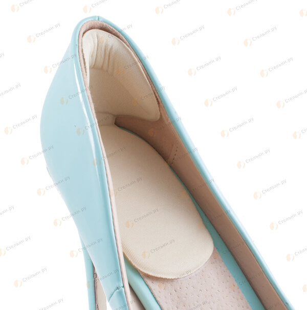 2 в 1: подпяточник и запяточник из геля с текстильным слоем от мозолей и корректировки обуви на 0,5 размера, бежевый (арт. 035)